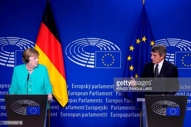 German Chancellor Angela Merkel and President of European Parliament David Sassoli deliver a speech at the European Parliament in Brussels on July 8,...