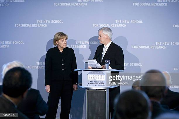 German Chancellor Angela Merkel and President of the New School For Social Research Bob Kerrey talk during the presentation of honorary degree of the...