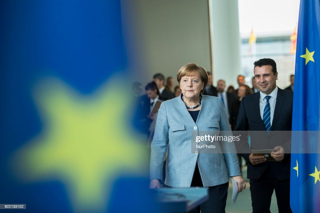 Merkel meets Prime Minister of Macedonia : News Photo