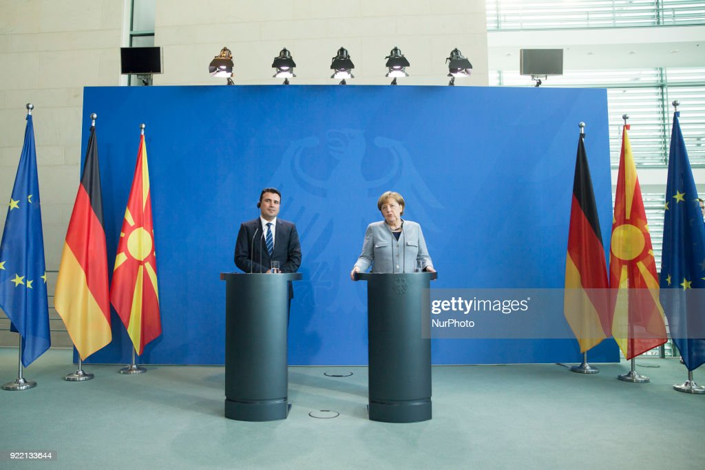Merkel meets Prime Minister of Macedonia : News Photo