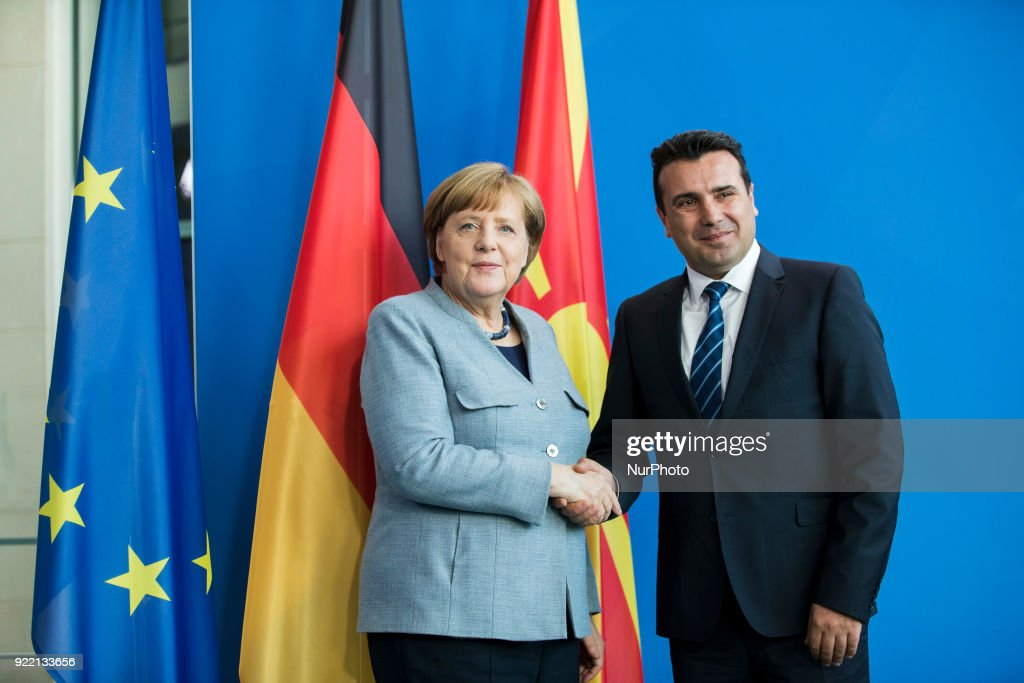German Chancellor Angela Merkel and Prime Minister of Macedonia Zoran Zaev shake hands at the end of a press conference at the Chancellery in Berlin, Germany on February 21, 2018.