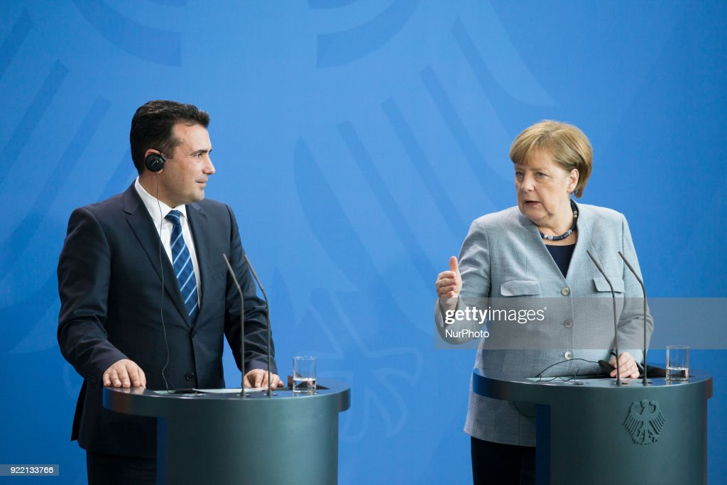 German Chancellor Angela Merkel and Prime Minister of Macedonia Zoran Zaev are pictured during a press conference at the Chancellery in Berlin, Germany on February 21, 2018.