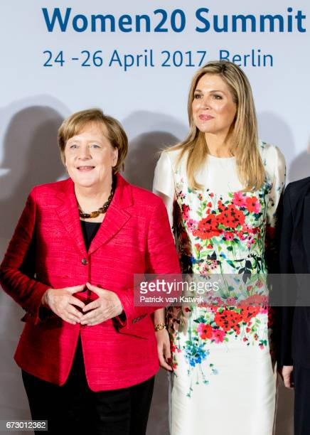 German chancellor Angela Merkel and Queen Maxima of The Netherlands attend the W20 conference on April 25 2017 in Berlin Germany The conference part...