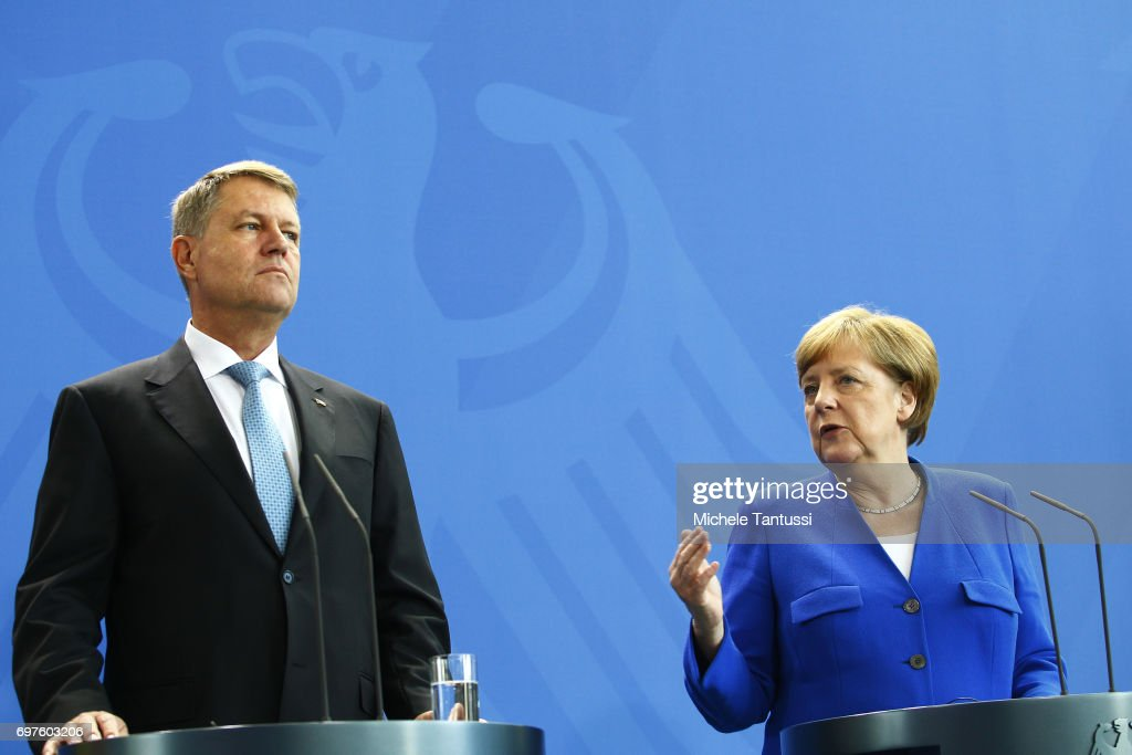 German Chancellor Angela Merkel and Romanian president Klaus Johannis speak during a press conference following their meeting in the german chancellory on June 19, 2017 in Berlin, Germany.
