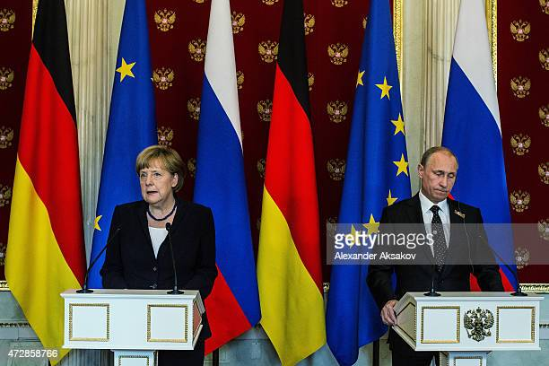German Chancellor Angela Merkel and Russian President attend a press conference at the Kremlin May 10 2015 in Moscow Russia Merkel is on a oneday...