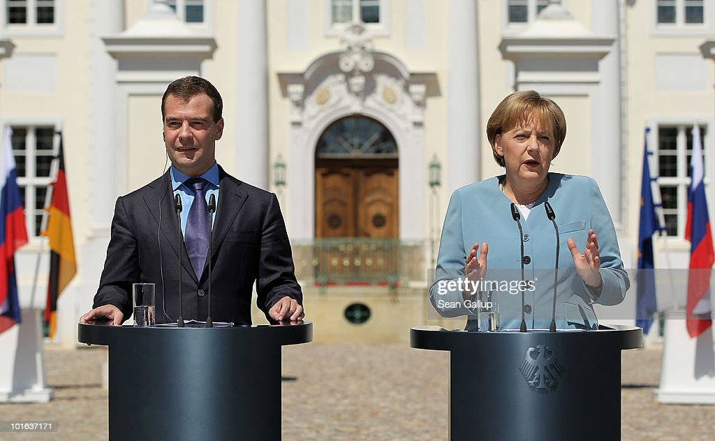 German Chancellor Angela Merkel and Russian President Dmitry Medvedev speak to the media following bilateral talks at Meseberg Palace on June 5, 2010 in Meseberg, Germany. Merkel and Medvedev have been meeting at Meseberg today and yesterday to discuss bilateral and international issues.