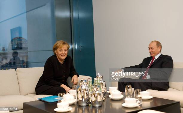 German Chancellor Angela Merkel and Russian Prime Minister Vladimir Putin are seen at the Chancellery on January 16 2009 in Berlin Germany Putin met...