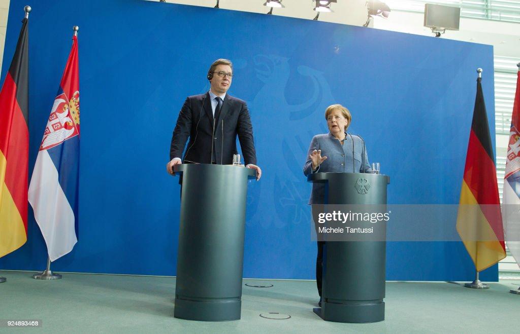 Serbian President Vucic Meets Angela Merkel