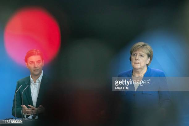 German Chancellor Angela Merkel and Serbian Prime Minister Ana Brnabic attend a press conference after a meeting at the Chancellery in Berlin on...