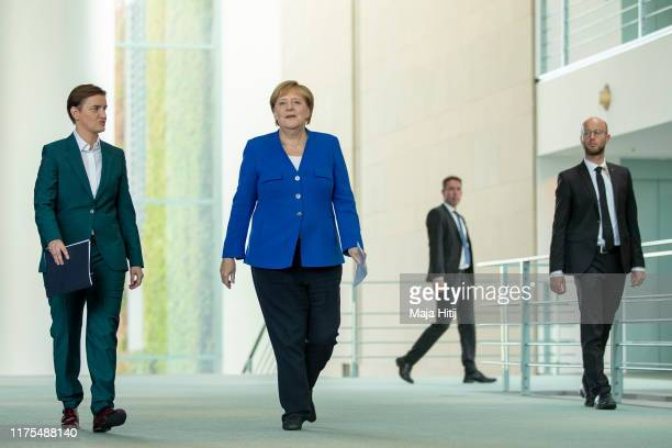 German Chancellor Angela Merkel and Serbian Prime Minister Ana Brnabic arrive at a a press conference after a meeting at the Chancellery in Berlin on...