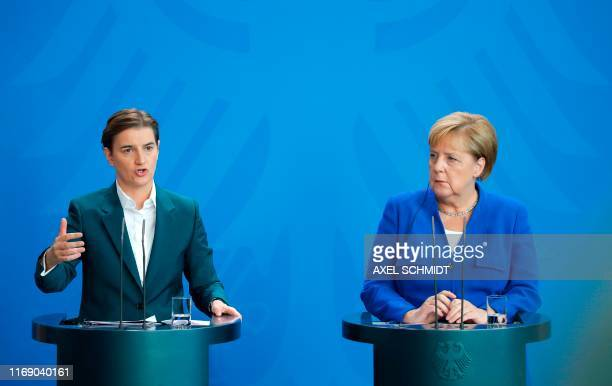 German Chancellor Angela Merkel and Serbian Prime Minister Ana Brnabic give a joint press conference at the Chancellery in Berlin on September 18 2019