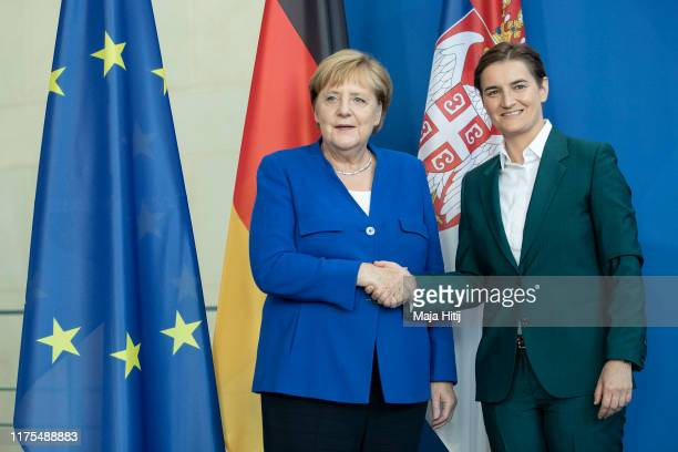 German Chancellor Angela Merkel and Serbian Prime Minister Ana Brnabic shake hands after a press conference after a meeting at the Chancellery in...
