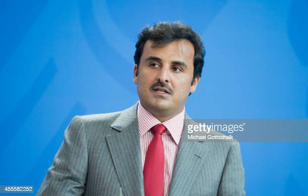 German Chancellor Angela Merkel and Sheikh Tamim bin Hamad Al Thani the eighth and current Emir of the State of Qatar meet in chancellery on...