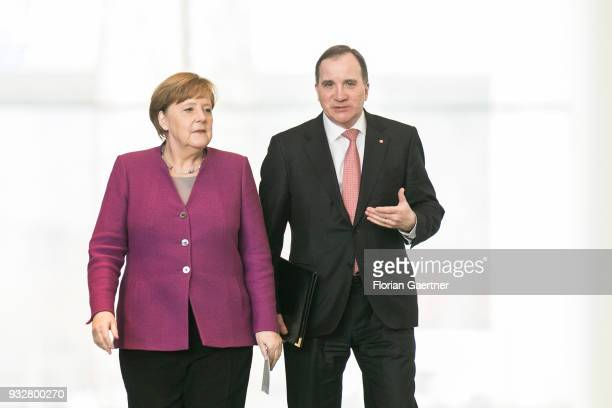 German Chancellor Angela Merkel and Stefan Loefven Prime Minister of Sweden are pictured before a press conference on March 16 2018 in Berlin Germany