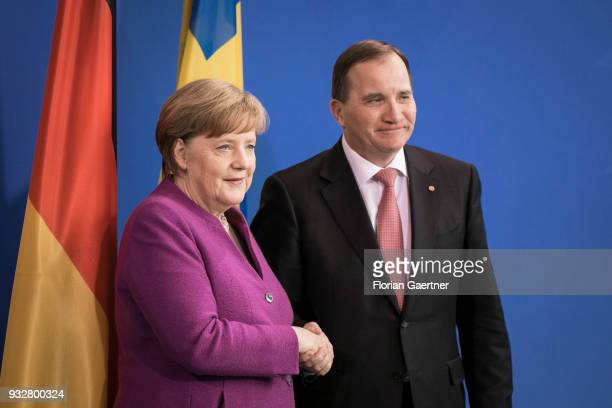 German Chancellor Angela Merkel and Stefan Loefven Prime Minister of Sweden are pictured after a press conference on March 16 2018 in Berlin Germany