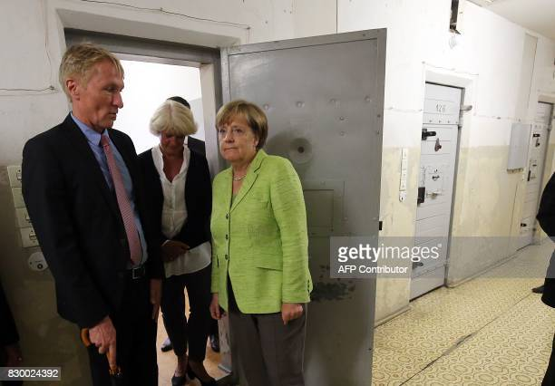 German Chancellor Angela Merkel and the Federal Government's Commissioner for Culture and the Media Monika Gruetters are accompanied by German...