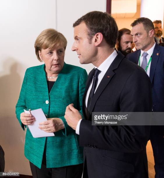 German Chancellor Angela Merkel and the French President Emmanuel Macron are living at the end of a 2 days EU Summit in the Justus Lipsius the EU...