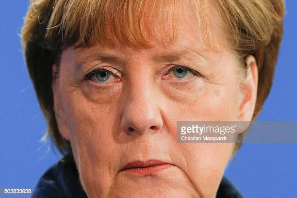 German Chancellor Angela Merkel and the newly elected Romanian Prime Minister Dacian Cioloso talk to the press after their common lunch at the...