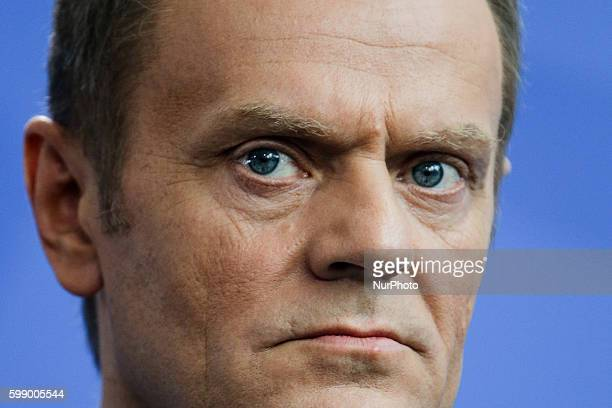 German Chancellor Angela Merkel and the Polish Prime Minister Donald Tusk hold a press conference ahead of their meeting in the chancellory on April...