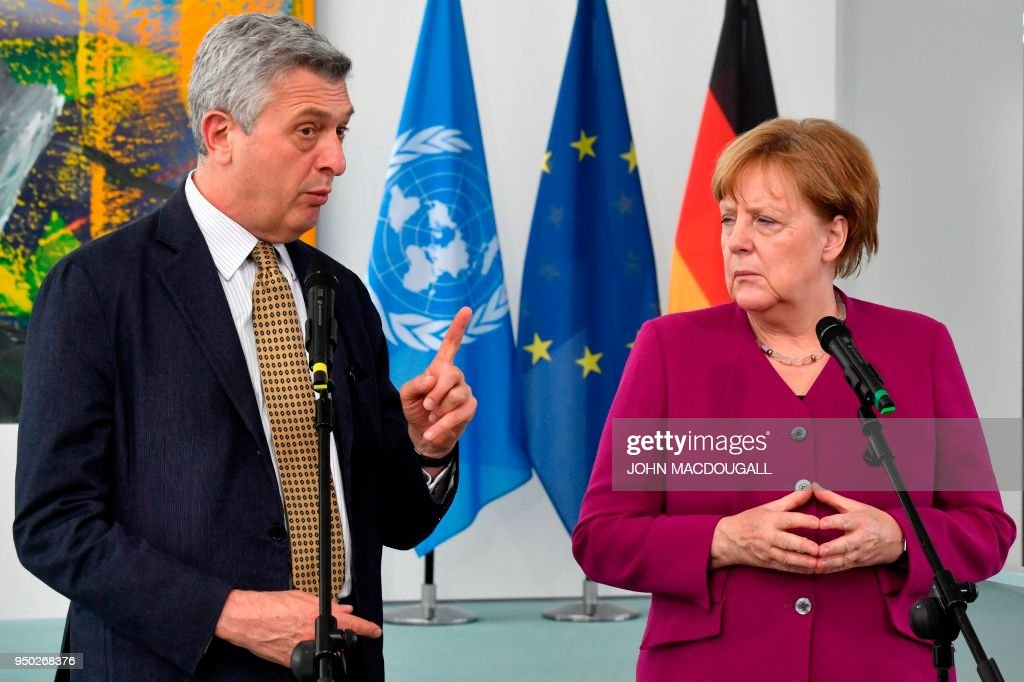 Merkel Meets With UN Refugees Commissioner Grandi