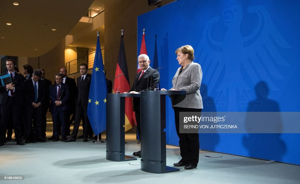 Merkel Meets With Turkish Prime Minister Yildirim