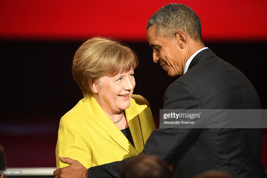 German chancellor Angela Merkel and U.S. President Barack Obama are seen on stage at the opening evening of the Hannover Messe trade fair on April 24, 2016 in Hanover, Germany. Obama met with German Chancellor Angela Merkel in Hanover earlier in the day and is scheduled to tour exhibition halls at the fair tomorrow. Hannover Messe is the world's largest industrial trade fair.