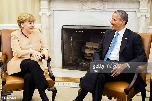 German Chancellor Angela Merkel and US President Barack Obama hold a bilateral meeting in the Oval Office at the White House on May 2 2014 in...