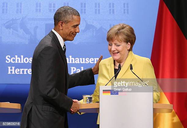 German Chancellor Angela Merkel and US President Barack Obama prepare to depart after speaking to the media following talks at Schloss Herrenhausen...