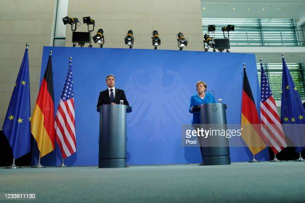 German Chancellor Angela Merkel and US Secretary of State Antony Blinken during a joint press conference at the Chancellery on June 23, 2021 in...