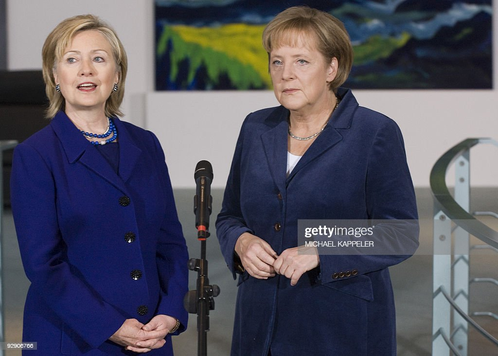 German Chancellor Angela Merkel (R) and US Secretary of State Hillary Clinton give a statement prior to bilateral talks on November 9, 2009 at the Chancellory in Berlin, ahead of celebrations for the 20th anniversary of the fall of the wall.