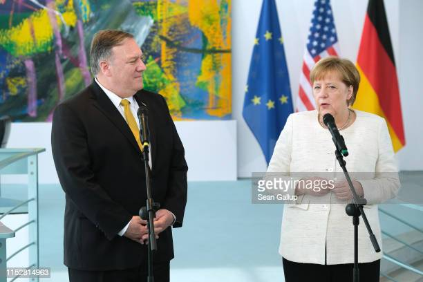 German Chancellor Angela Merkel and U.S. Secretary of State Mike Pompeo give statements to the media prior to talks at the Chancellery on May 31,...