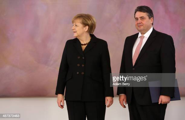 German Chancellor Angela Merkel and Vice Chancellor and Economy and Energy Minister Sigmar Gabriel attend a ceremony in which German President...