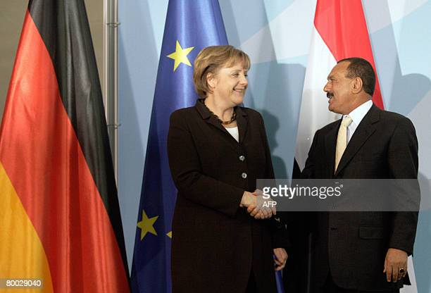 German Chancellor Angela Merkel and Yemeni President Ali Abdullah Saleh shake hands after a joint press conference on February 27 2008 at the...