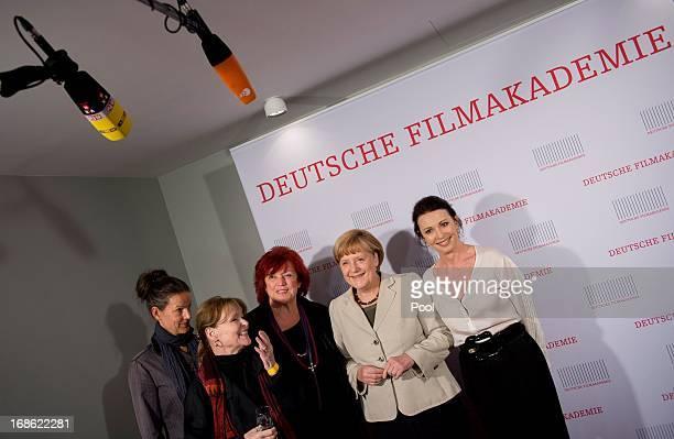 German Chancellor Angela Merkel Angelica Domroese Regina Ziegler and Iris Berben attend the screening of the 1973 film Die Legende von Paul und Paula...