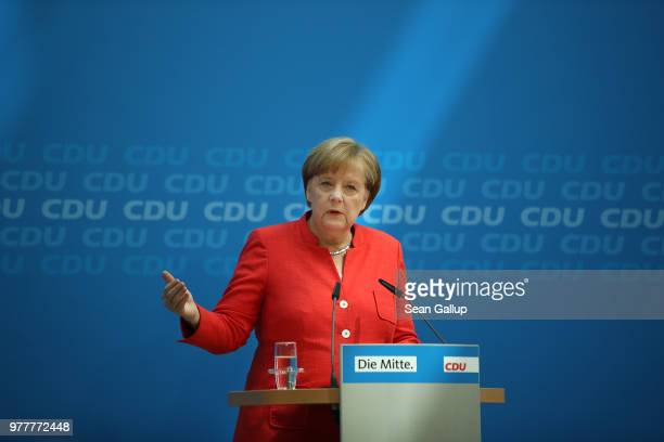 German Chancellor Angela Merkel announces compromise with CSU on refugees policy during a press conference in Berlin Germany on June 18 2018