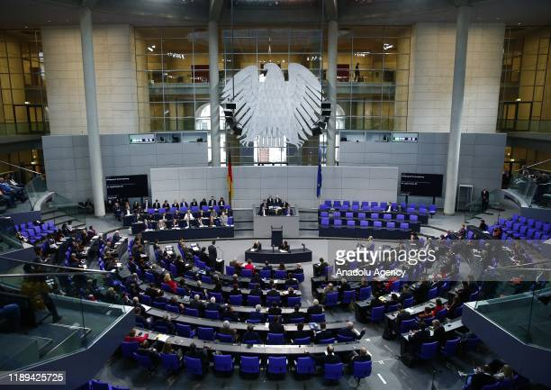 German Chancellor Angela Merkel answers the questions of deputies at Bundestag in Berlin, Germany on December 18, 2019.