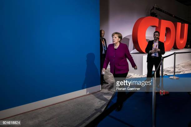 German Chancellor Angela Merkel arrives at the 30th German Christian Democrats party congress on February 26 2018 in Berlin Germany The CDU is...