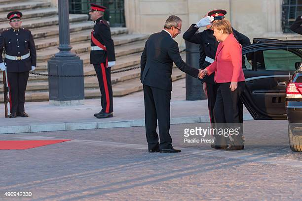 German Chancellor Angela Merkel arrives at the Auberge de Castille in La Valletta, for the European Union - Africa Summit on Migration. The summit is...