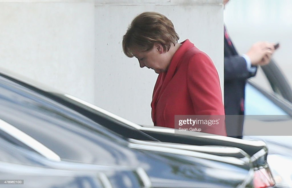 German Chancellor Angela Merkel arrives at the Chancellery for an extraordinary meeting with leaders of Germany's main political parties the day after the European Central Bank announced it would not extend emergency funding to Greece on June 29, 2015 in Berlin, Germany. Stock markets in Europe were markedly down today and the Greek government ordered cash machines turned off and a tightening on the flow of capital in an effort to staunch citizens' withdrawals.
