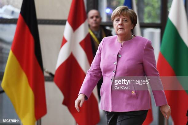 German Chancellor Angela Merkel arrives at the Council of the European Union on the first day of an EU summit on March 9 2017 in Brussels Belgium EU...