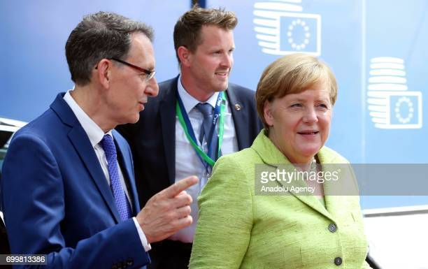 German Chancellor Angela Merkel arrives at the Europa building to attend the European Union leaders summit in Brussels, Belgium, on Thursday, June...