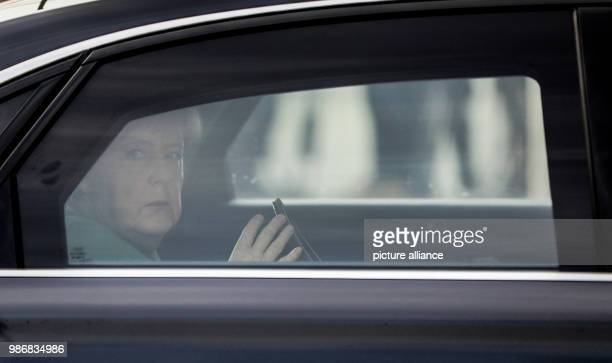 German chancellor Angela Merkel arrives at the Konrad Adenauer House for a committee meetings of her party in Berlin, Germany, 19 February 2018.....