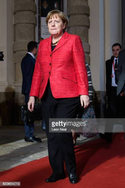 German Chancellor Angela Merkel arrives at the Malta Informal Summit on February 3, 2017 in Valletta, Malta. Theresa May attends an informal summit...