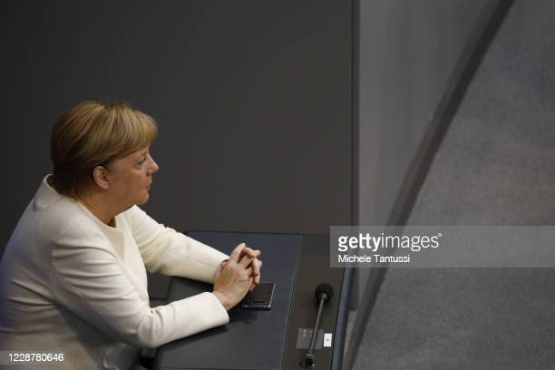 German Chancellor Angela Merkel arrives at the plenary room of the germans lower house of Parliament or Bundestag ahead the debate on budget law on...