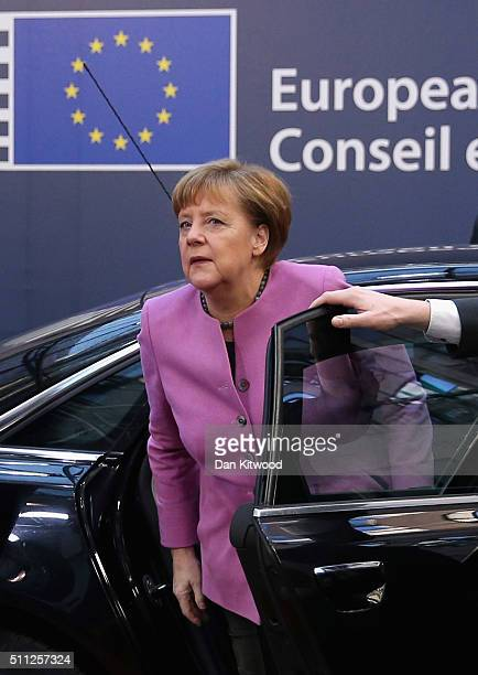 German Chancellor Angela Merkel arrives during the second day of the EU Summit as British Prime Minister David Cameron continues his attempts to...