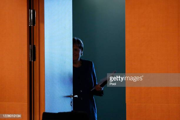 German Chancellor Angela Merkel arrives for a cabinet meeting at the German chancellery on August 12 2020 in Berlin Germany