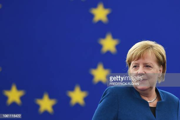 German Chancellor Angela Merkel arrives for a debate on the futur of Europe during a plenary session at the European Parliament in Strasbourg,...
