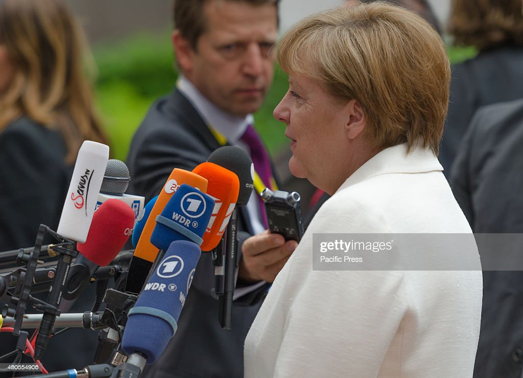German Chancellor Angela Merkel arrives for a Eurozone meeting where heads of state will take stock of the situation and set out the political guidelines for the next steps.
