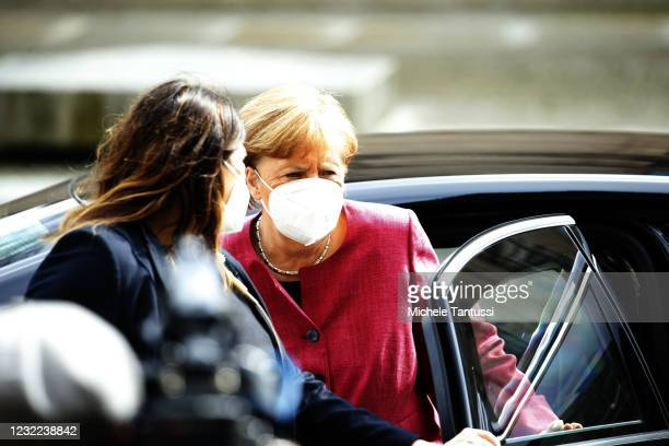 German Chancellor Angela Merkel arrives for a meeting of the CDU/CSU Bundestag faction with party heads Armin Laschet of the CDU and Markus Soeder of...