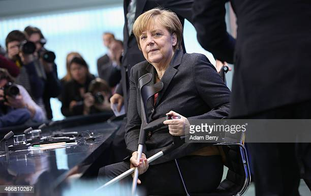 German Chancellor Angela Merkel arrives for a news conference with Turkish Prime Minister Recep Tayyip Erdogan following talks at the German federal...